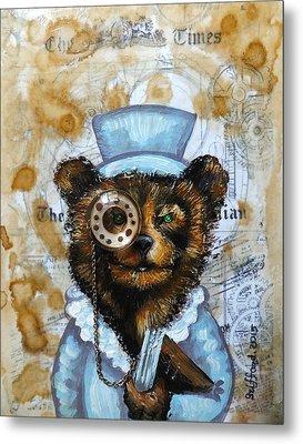 The Times Bear Metal Print by Anna Griffard