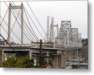The Two Carquinez Bridges At Crockett And Vallejo California . Aka Alfred Zampa Memorial Bridge . 7d8919 Metal Print by Wingsdomain Art and Photography