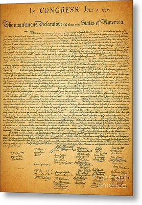 The United States Declaration Of Independence Metal Print by Wingsdomain Art and Photography
