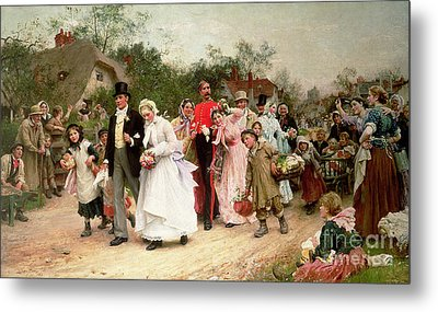 The Village Wedding Metal Print by Sir Samuel Luke Fildes