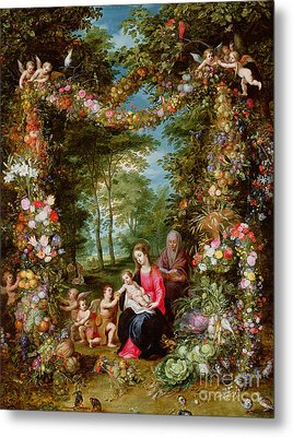 The Virgin And Child With The Infant Saint John The Baptist, Saint Anne And Angels, Surrounded By A  Metal Print by Brueghel and Balen