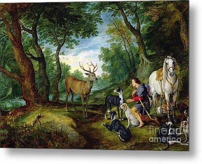 The Vision Of Saint Hubert Metal Print by Brueghel and Rubens