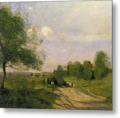 The Wagon Metal Print by Jean Baptiste Camille Corot