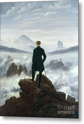 The Wanderer Above The Sea Of Fog Metal Print by Caspar David Friedrich