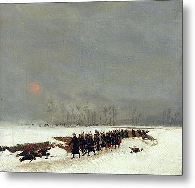 The War Of 1870 An Infantry Column On Their Way To A Raid Metal Print by Jean-Baptiste Edouard Detaille