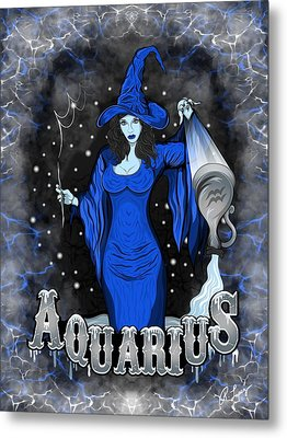 Metal Print featuring the drawing The Water Bearer - Aquarius Spirit by Raphael Lopez