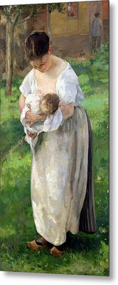The Wet Nurse Metal Print by Alfred Roll