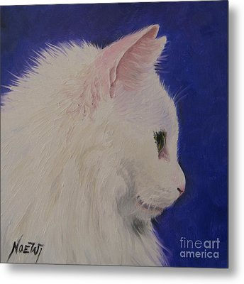 The White Cat Metal Print by Jindra Noewi