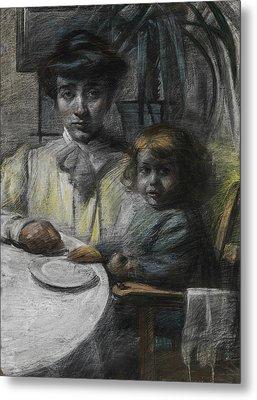The Wife And Daughter Of Giacomo Balla Metal Print by Umberto Boccioni