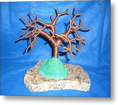 Thick 24 Gauge Copper Wire Tree On Brown And Black Marble Or Granite Slab Metal Print by Serendipity Pastiche