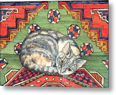 Third Carpet Cat Patch Metal Print by Ditz