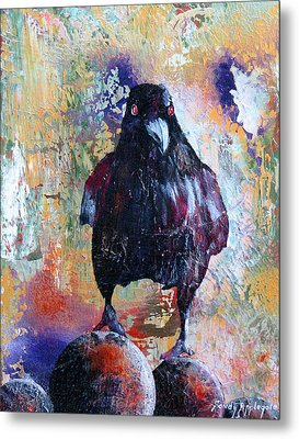 This Ebony  Bird Metal Print by Sandy Applegate