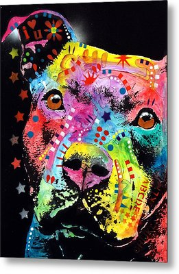 Thoughtful Pitbull I Heart U Metal Print by Dean Russo
