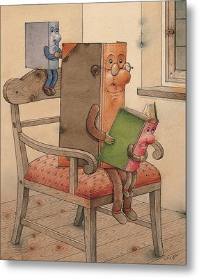 Three Books Metal Print by Kestutis Kasparavicius