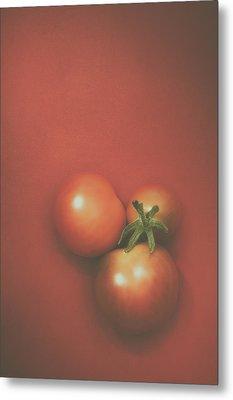 Three Cherry Tomatoes Metal Print by Scott Norris