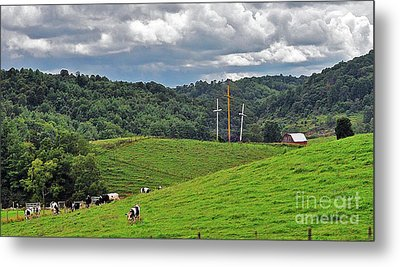 Three Crosses On The Farm Metal Print by Lydia Holly