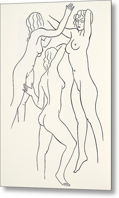 Three Female Nudes Metal Print by Eric Gill