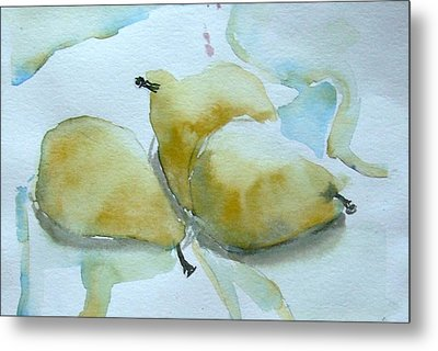 Three Gold Pears Metal Print by Mindy Newman