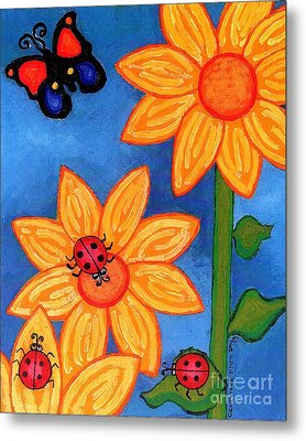 Three Ladybugs And Butterfly Metal Print by Genevieve Esson