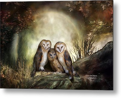 Three Owl Moon Metal Print by Carol Cavalaris