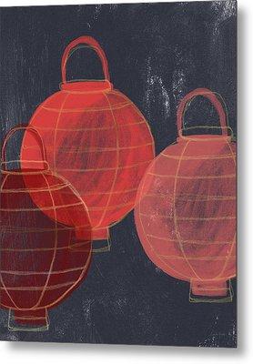 Three Red Lanterns- Art By Linda Woods Metal Print by Linda Woods