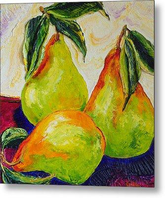 Three Ripe Pears Metal Print by Paris Wyatt Llanso