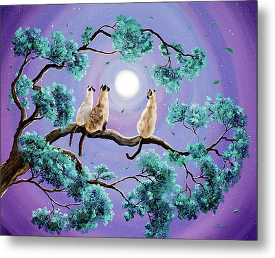 Three Siamese Cats In Moonlight Metal Print by Laura Iverson