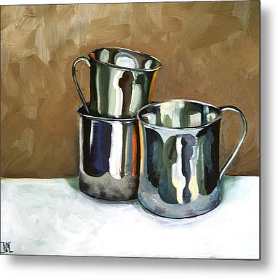 Three Sterling Cups Metal Print by Amy Higgins