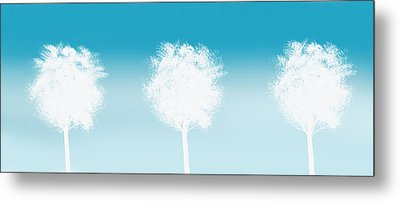 Three White Trees Metal Print by Art Spectrum