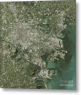 Tianjin Topographic Map Natural Color Top View Metal Print by Frank Ramspott