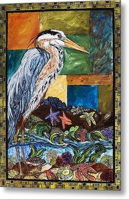 Tidepool Heron Metal Print by Melissa Cole