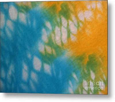 Tie Dye In Yellow Aqua And Green Metal Print by Anna Lisa Yoder