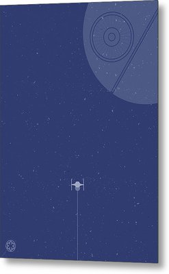 Tie Fighter Defends The Death Star Metal Print by Samuel Whitton