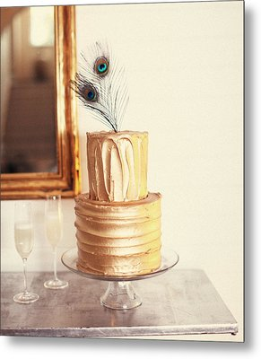 Tiered Cake With Peacock Feathers On Top Metal Print by Gillham Studios