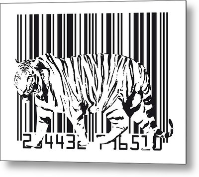 Tiger Barcode Metal Print by Michael Tompsett