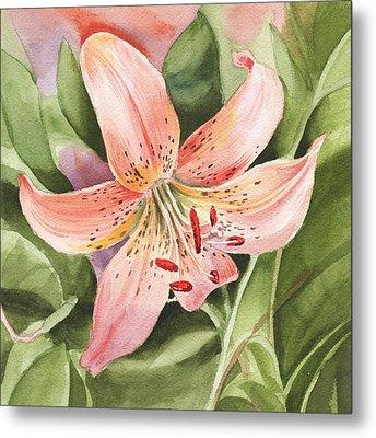 Tiger Lily Watercolor By Irina Sztukowski Metal Print by Irina Sztukowski