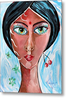 Timeless Dreamer - Woman Face Art By Valentina Miletic Metal Print by Valentina Miletic