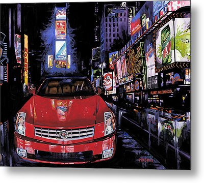 Times Square ....cadillac Metal Print by Mike Hill