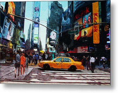 Times Square Taxi- Art By Linda Woods Metal Print by Linda Woods