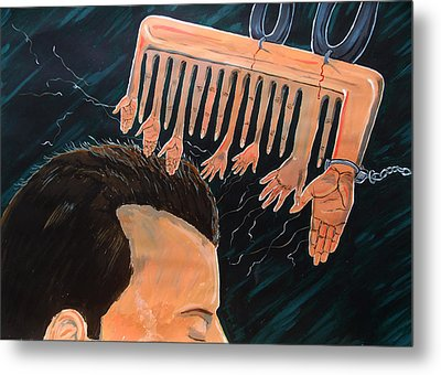 To Comb The Social Reactions Metal Print by Lazaro Hurtado