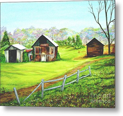 Tobacco Barns North Carolina Metal Print by Pauline Ross