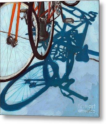Together - City Bikes Metal Print by Linda Apple