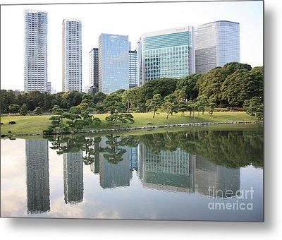 Tokyo Skyline Reflection Metal Print by Carol Groenen