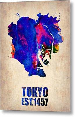 Tokyo Watercolor Map 2 Metal Print by Naxart Studio