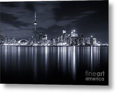 Toronto Skyline Monochrome Metal Print by Matt  Trimble