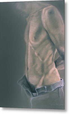 Torso With Jeans Metal Print by John Clum