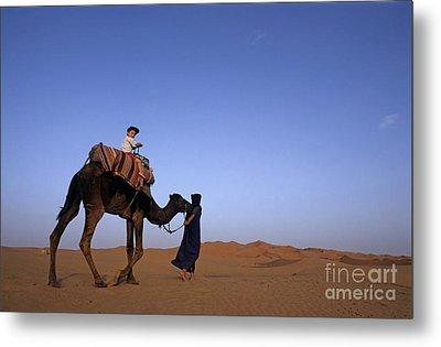Touareg Man Leading Boy Riding Camel In Sahara Desert Metal Print by Sami Sarkis