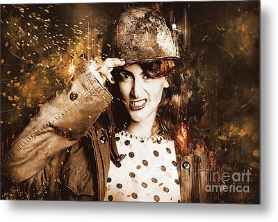 Tough Pin Up Soldier Metal Print by Jorgo Photography - Wall Art Gallery