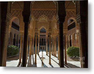 Tourists In The Courtyard In The Patio De Los Leones Area At Alhambra Metal Print by Sami Sarkis