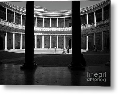Tourists Inside A Courtyard At The Palace Of Charles V At Alhambra Metal Print by Sami Sarkis
